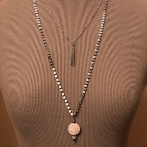 Jewelry - Hand knotted silk string double strand necklace